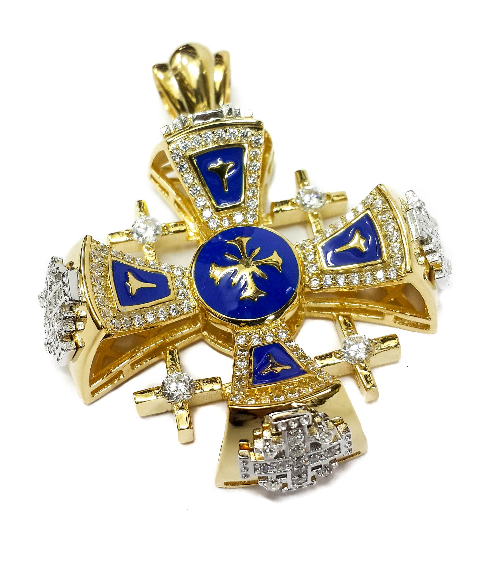 Silver 925 Jerusalem Cross Pendant Plated in 24k Gold Blue Enamel With Crystallized Elements 1.9''
