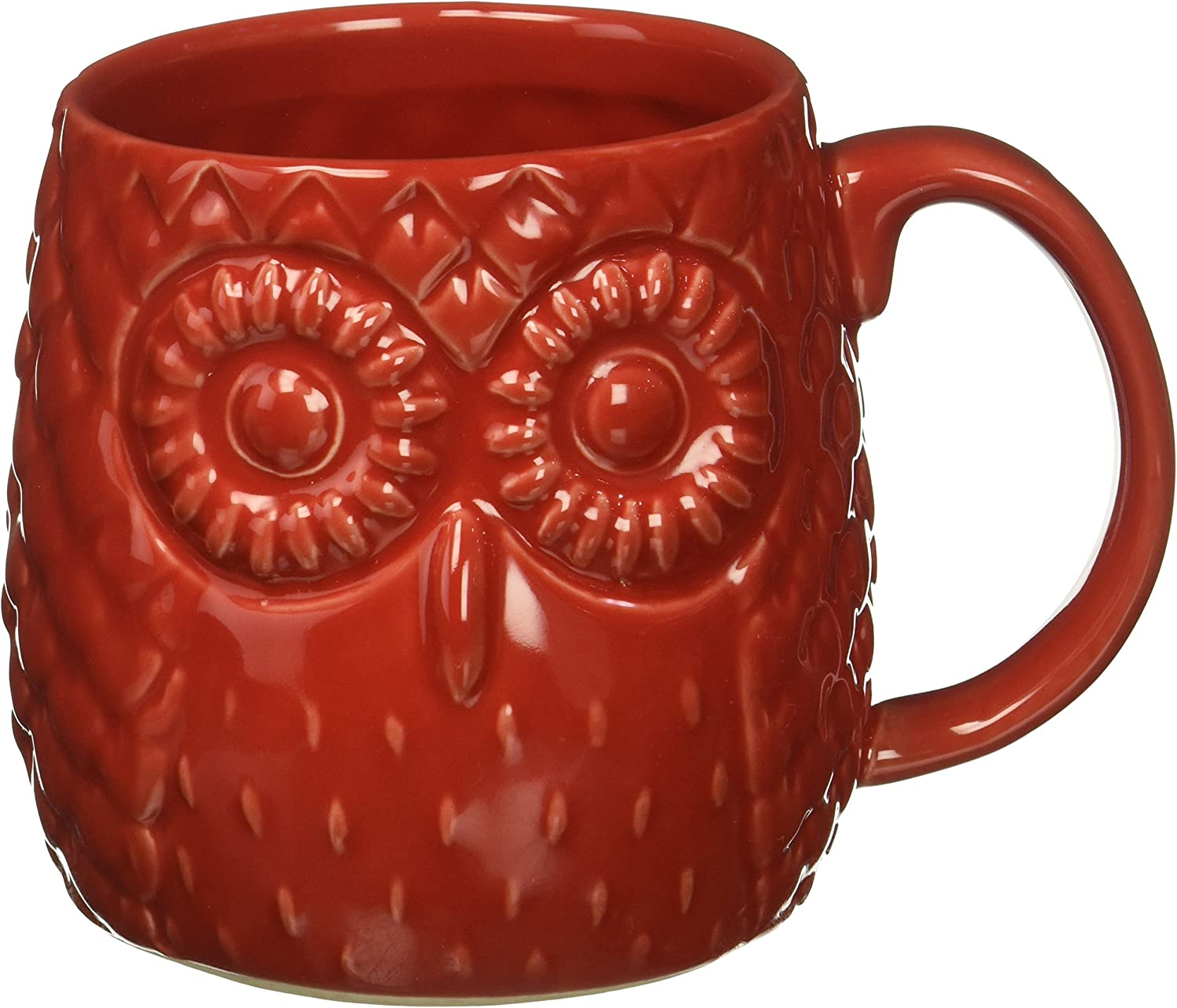 Home Essentials 20 Oz Embossed Owl Mug Red