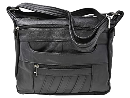 3c85fa8545c9 Black Crossbody Leather Locking Concealment Purse CCW Concealed Carry Gun  Bag