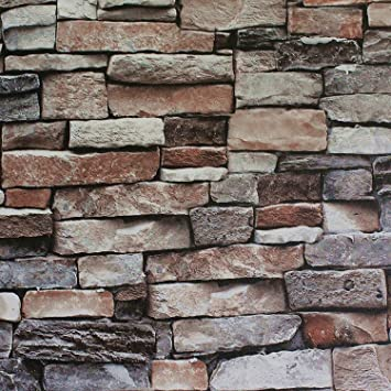 Blooming Wall Faux Stone Brick Mural Wallpaper Vinyl For Livingroom Bedroom 208 In32