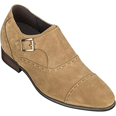 CALTO Men's Invisible Height Increasing Elevator Shoes - Khaki Suede Slip-on Formal Loafers - 3 Inches Taller - S1085 | Loafers & Slip-Ons