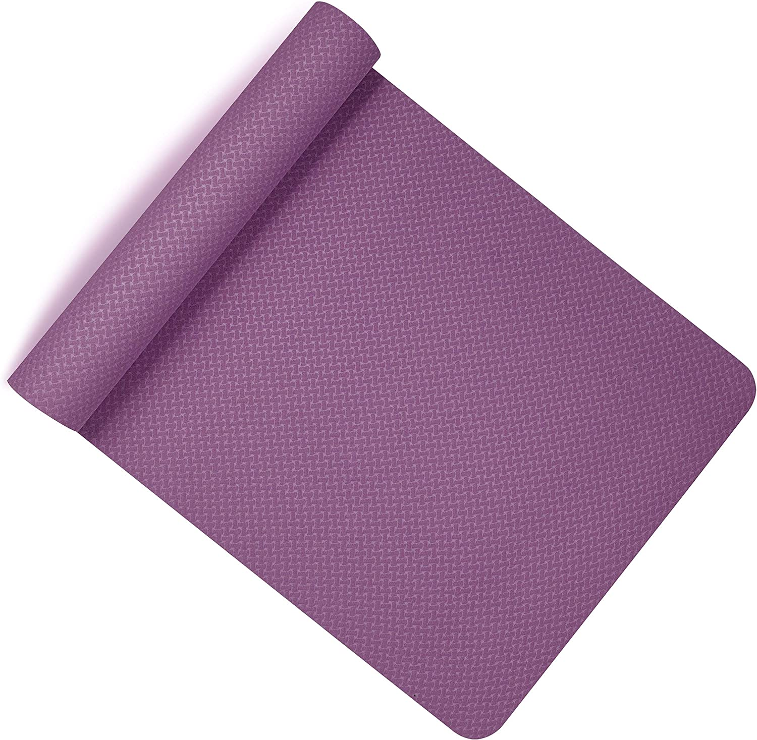 Balance Training and Fitness Two Tone Eco Exercise Mat for Gymnastics Lions TPE Yoga Mat Anti-Slip Thick Cushion with Carry Straps 183x61x0.6cm Pilates