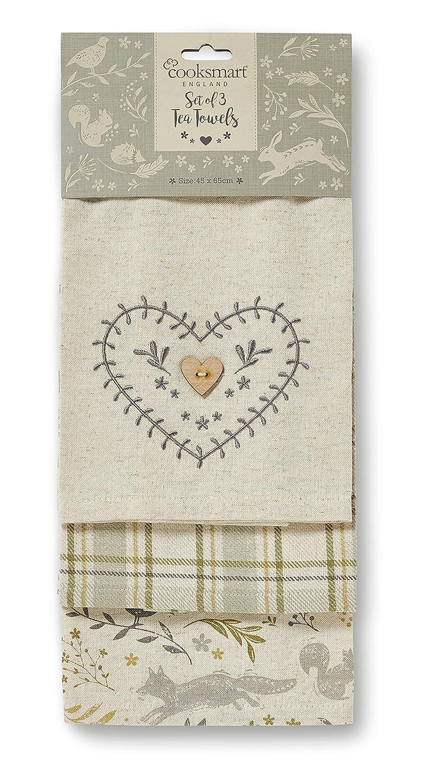 Cooksmart Woodland Set of 3 Tea Towels Citylook Imports