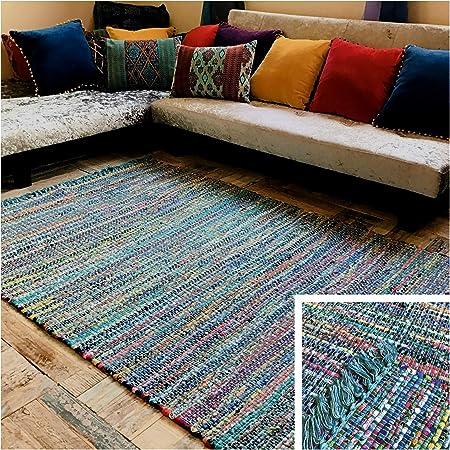 Second Nature Online - Alfombra de algodón con flecos, gruesa, diseño de cruz, color turquesa y multicolor, algodón mezcla, turquesa, 120 x 180 cm: Amazon.es: Hogar