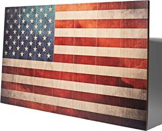 product image for Rustic American Flag Planked Wood Print