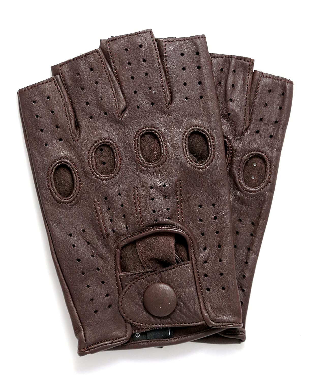 Shorty leather driving gloves fingerless - Riparo Motorsports Men S Fingerless Half Finger Driving Fitness Motorcycle Cycling Unlined Leather Gloves 2x Large Brown At Amazon Men S Clothing Store