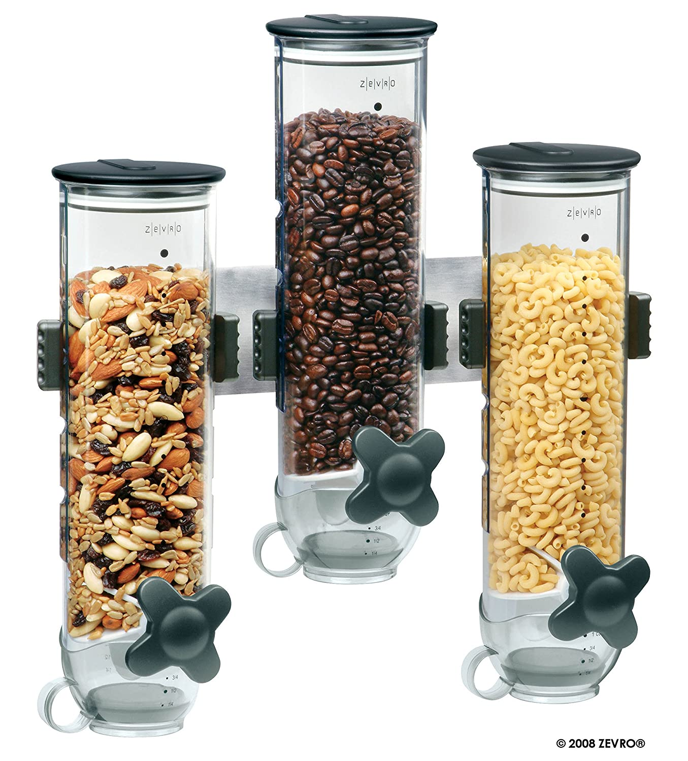 Zevro KCH-06139 Indispensable SmartSpace Wall Mount Triple Dry-Food Dispenser Honey-Can-Do