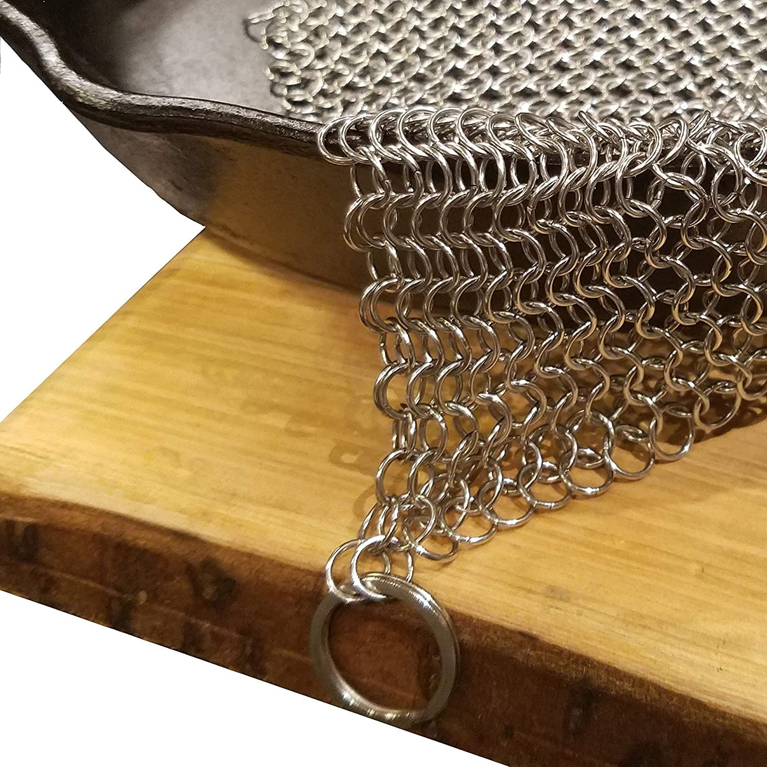 Extra Large (XXXL) Cast Iron Chainmail Scrubber For Cleaning Your Cast Iron Pan, Skillet, Griddle, Dutch Oven, Wok. Safe on Seasoning. Massive 8x8 Stainless Steel.