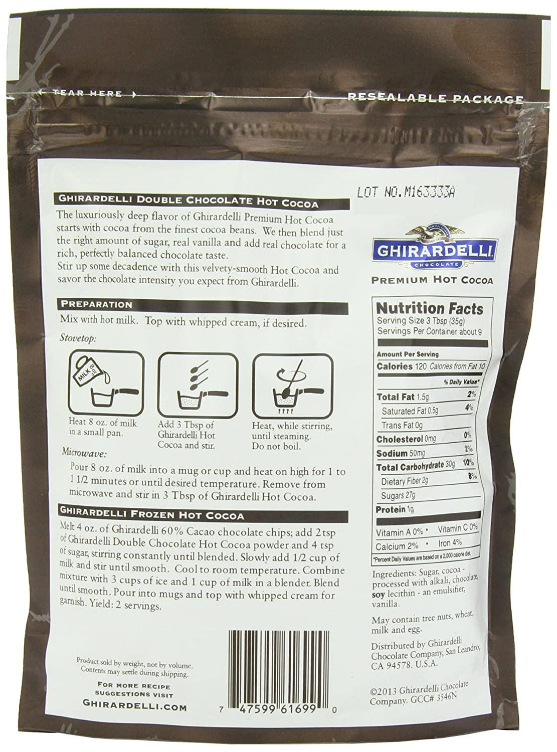 Amazon.com : Ghirardelli Hot Chocolate Pouch, Double Chocolate ...
