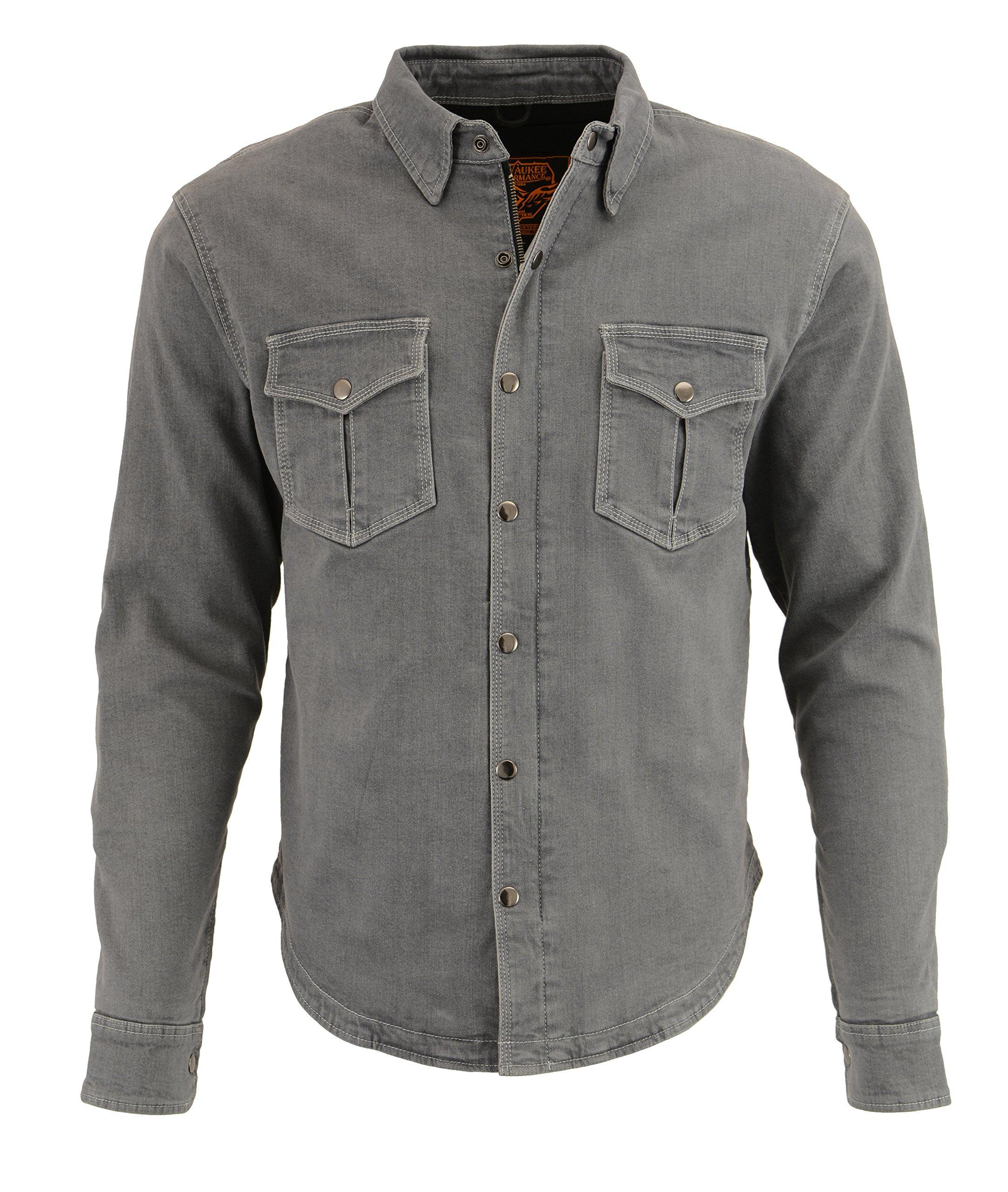 Milwaukee Performance Men's Denim Biker Shirt With Aramid (Grey, 4X-Large)