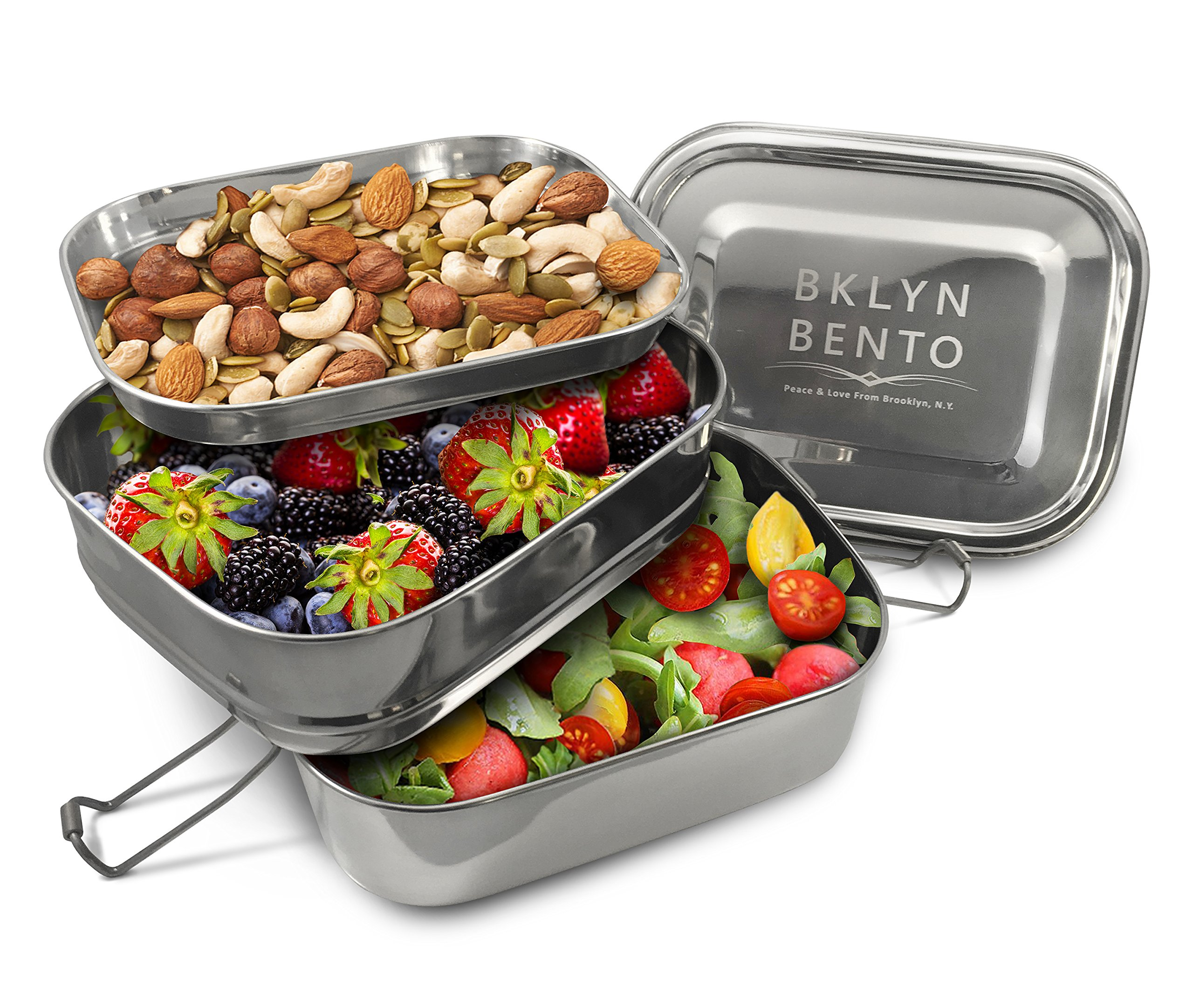 Stainless Steel Bento Box Lunch Box, A Large Metal 3 Tier Tiffin Food Container Snack Lunchbox For Boys Girls Teens Kids & Adults, Eco Friendly Meal Prep Food Container Storage For School or Work
