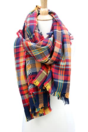 0f023e11a2d0c Image Unavailable. Image not available for. Color: Women Plaid Tartan Scarf  Warm Large Blanket Scarf Trendy Wrap Shawls Navy Yellow Red