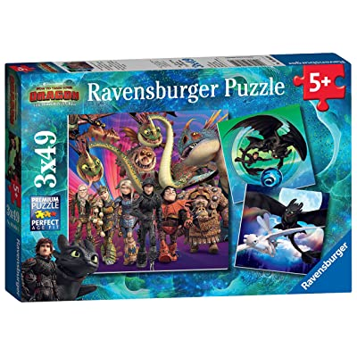 Ravensburger How to Train Your Dragon 3, 3X 49pc Jigsaw Puzzles: Toys & Games