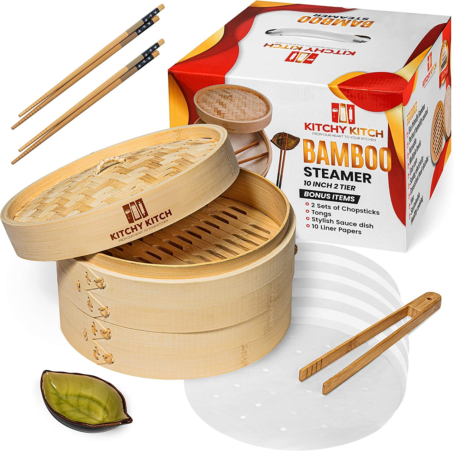 Bamboo Steamer Basket for Cooking, 10 Inch tray x 2, Chopstick Set x 2, Tongs, 10 Liner Paper & Sauce Pot - Steam Cook Healthy Food Every Day. Perfect for Asian Food, Dim sum, Dumpling, Fish
