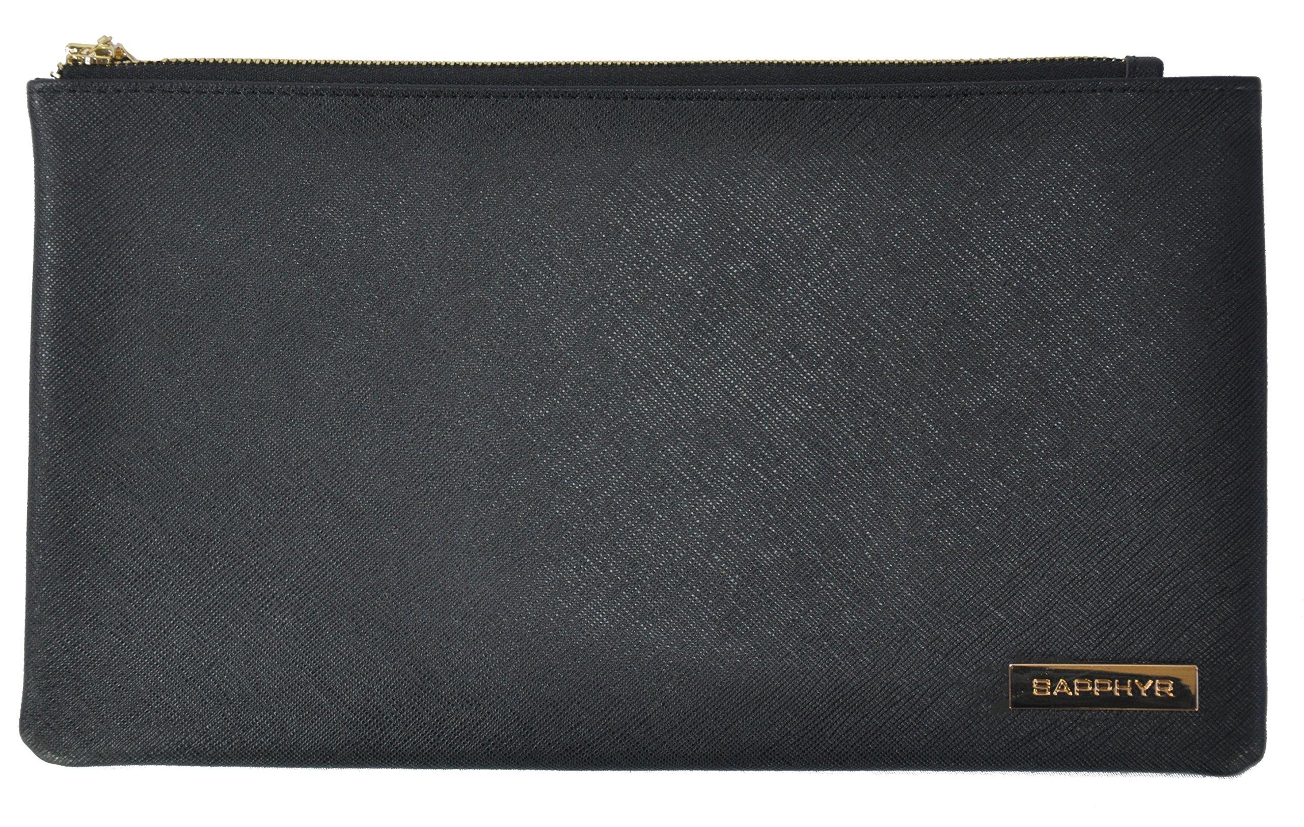 Saffiano Bank Bag by Sapphyr   For Cashiers, Checks and Currency   Luxury Real Leather Case with Pen Loop