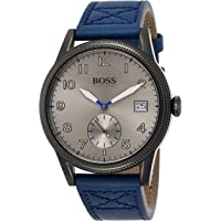 Hugo Boss Mens Quartz Watch, Chronograph Display and Leather Strap 1513684 Blue