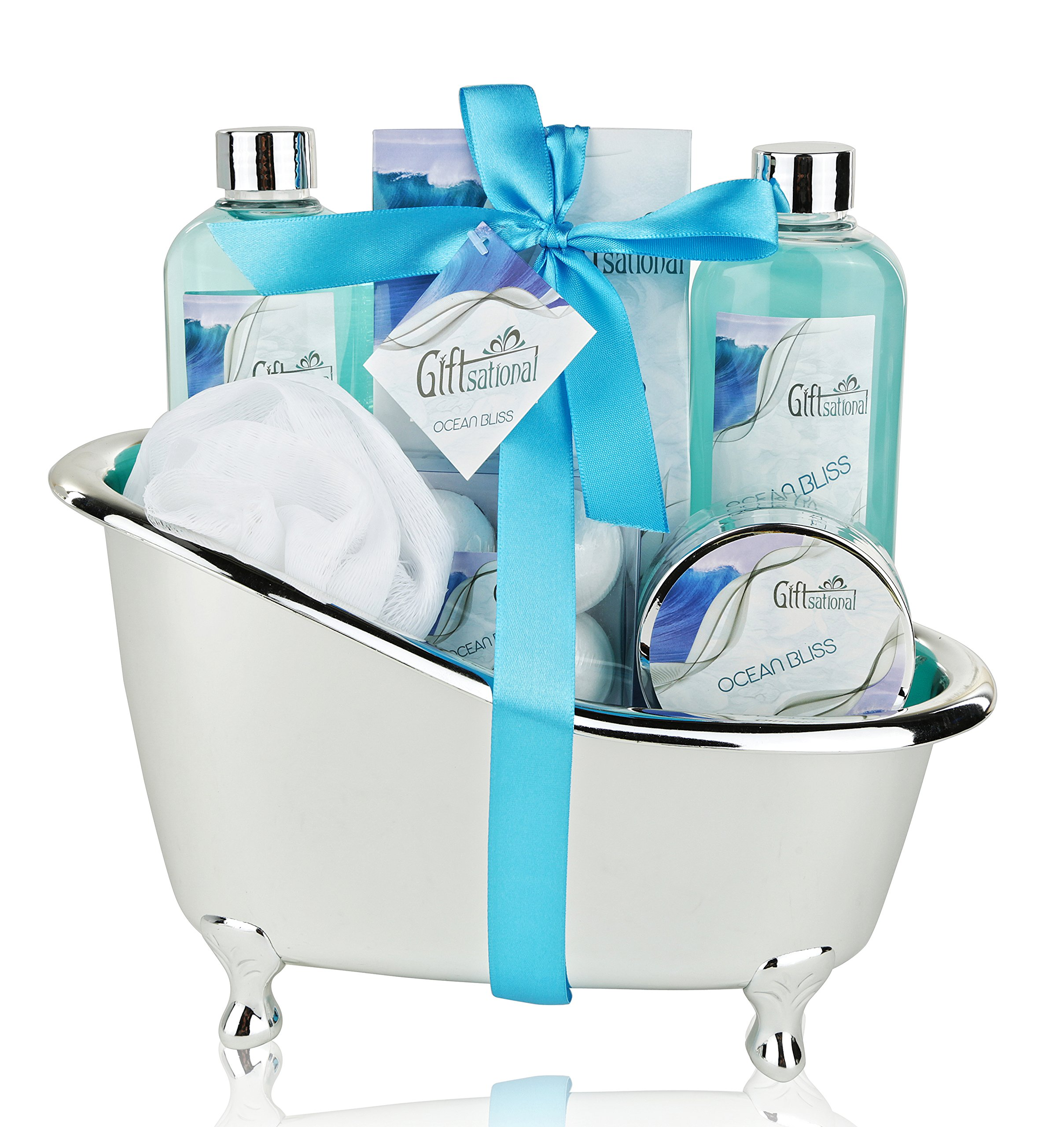 Spa Gift Basket with Refreshing Ocean Bliss Fragrance - Best Mother's Day, Wedding, Birthday, Anniversary Gift for Women -Bath Gift Set Includes Shower Gel Bubble Bath, Bath Salts Bath Bombs and More!