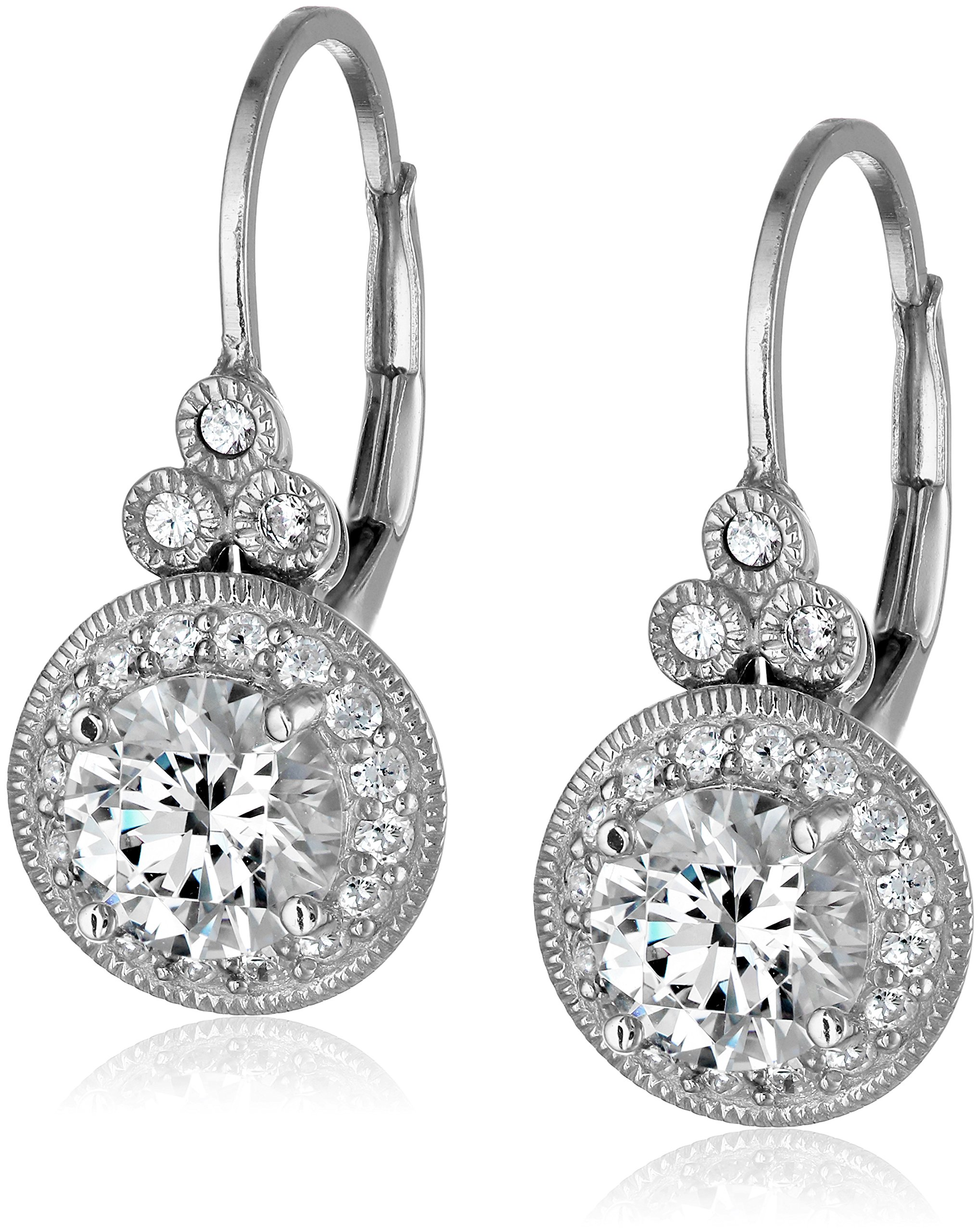 Amazon Collection Platinum Plated Sterling Silver Antique Drop Earrings set Round Cut Swarovski Zirconia (3.5 cttw)