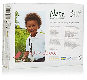 Branded Naty, ECO By Naty Diapers, Size 3, 31 Diapers , Weight 28lbs