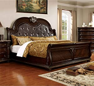 Furniture of America Goodwell Traditional Brown Cherry Tufted Leather Camel-Back Sleigh Bed California King
