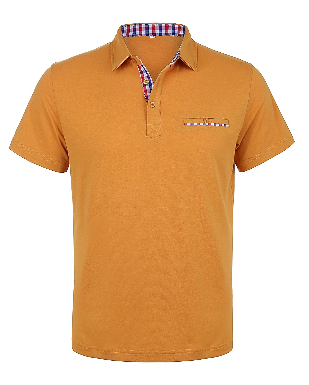 Schonlos Herren Poloshirt Kurzarm Patchwork Sommer T-Shirt Men's Polo Shirt