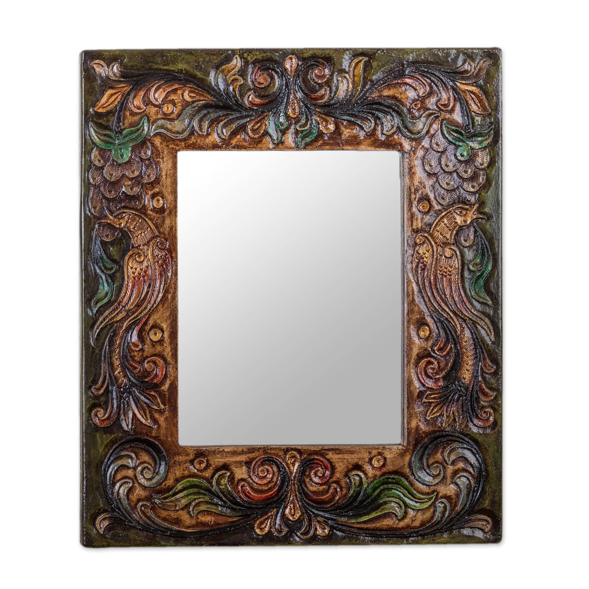 NOVICA Animal Themed Wood Wall Mounted Mirror, Multicolor 'Enchanted Reflection'