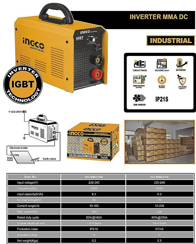 Ingco - Soldadora Inverter 160A Ing-Mma1606: Amazon.es: Bricolaje y herramientas