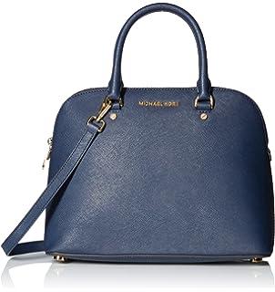 f2dacd780568 Michael Kors Saffiano Leather Cindy Lg Dome Satchel Shoulder Handbag in Navy