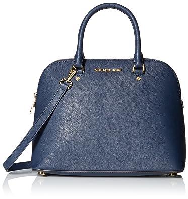 3e8171ceeeef Michael Kors Saffiano Leather Cindy Lg Dome Satchel Shoulder Handbag in Navy