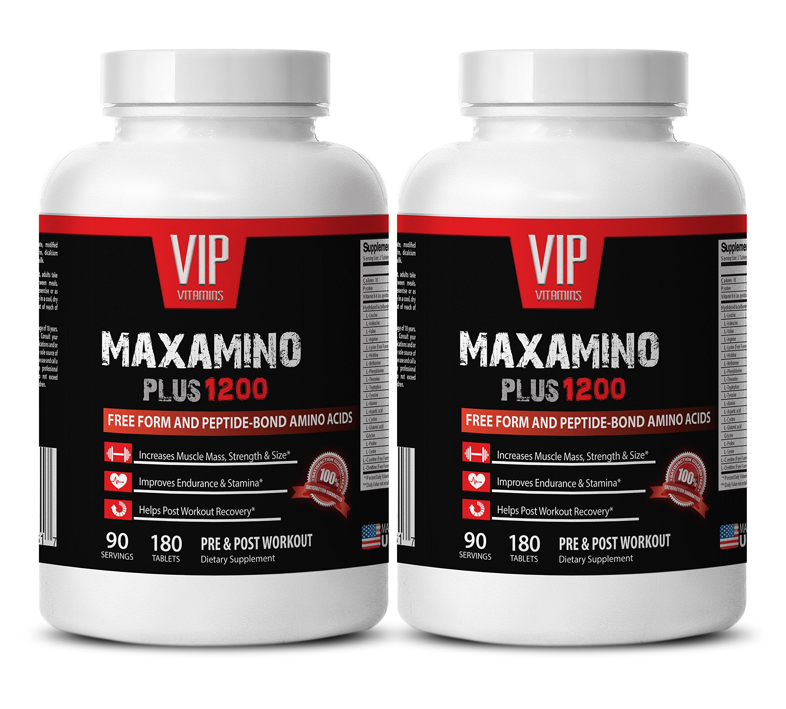 Amino acids for men - MAXAMINO PLUS 1200 - Muscle building supplements - 2 Bottles 360 Tablets