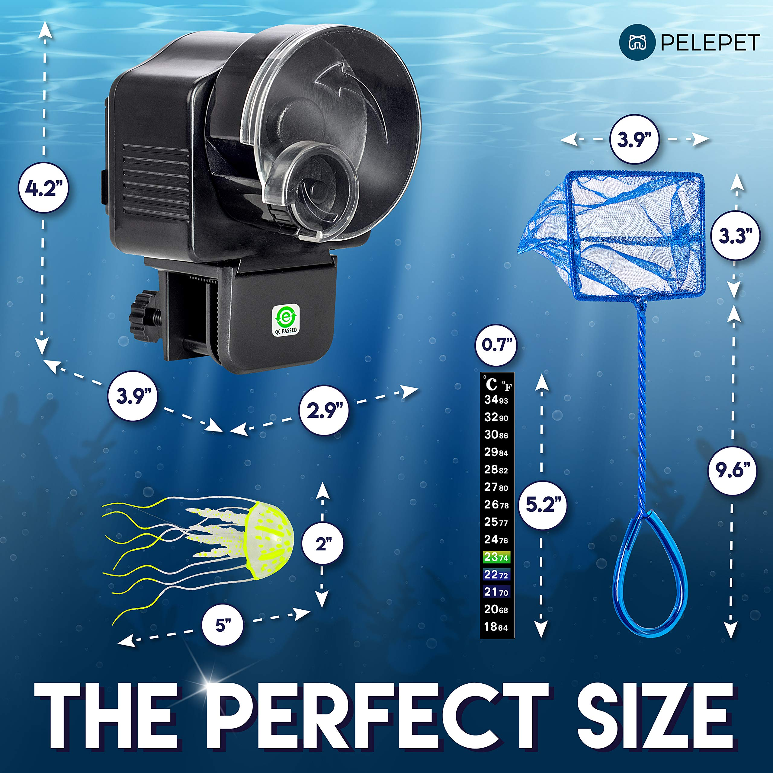PELEPET Automatic Fish Feeder - Aquarium Feeder - Fish Food Vacation Feeder - Auto Feeding Unit + Net for Fish Tank, Thermostat & Jelly Fish - Everyday Fish Food Dispenser by PELEPET (Image #4)