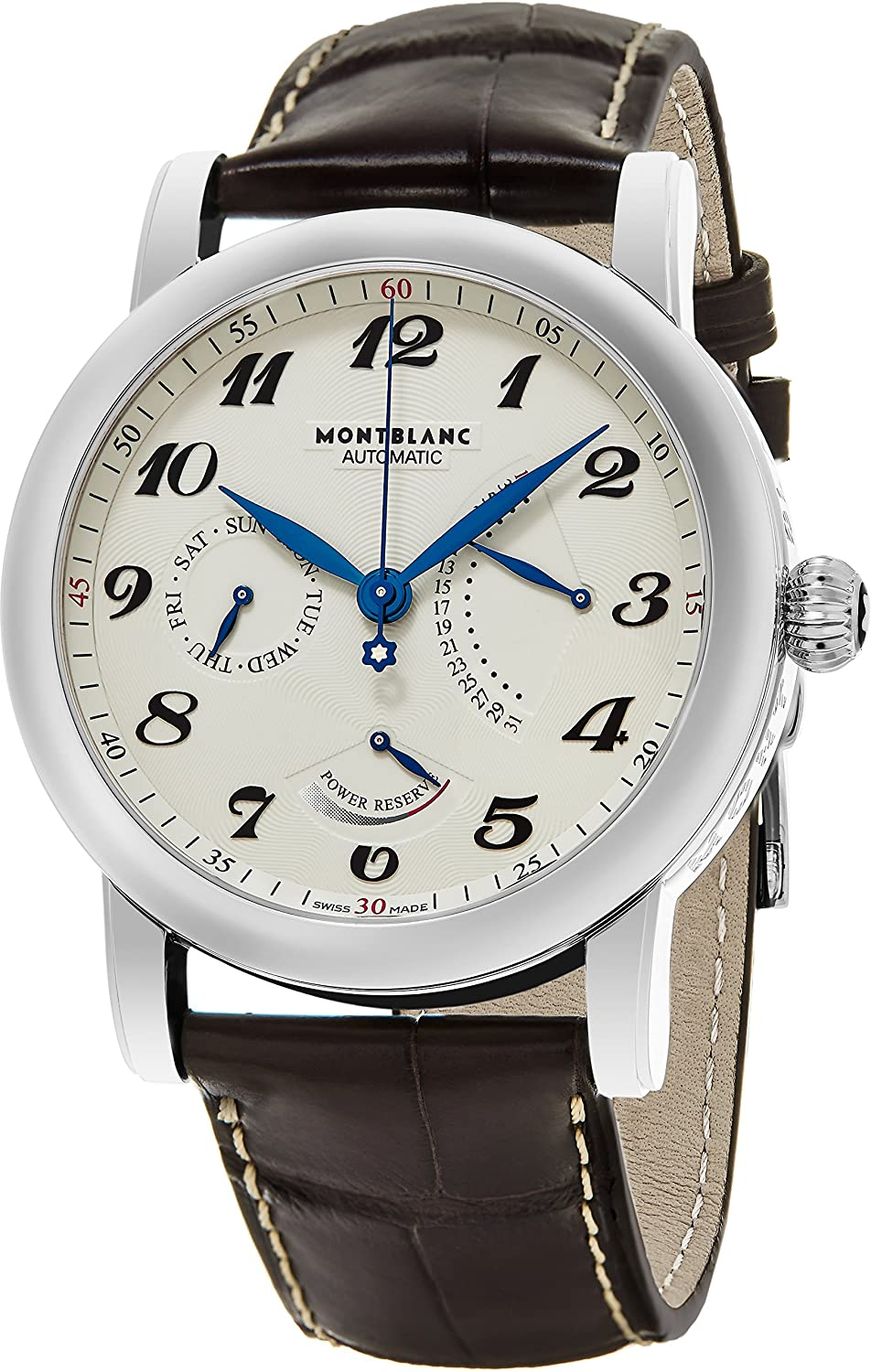 Montblanc Men s Star Stainless Steel Swiss-Automatic Watch with Leather Strap, Brown, 22 Model 106462