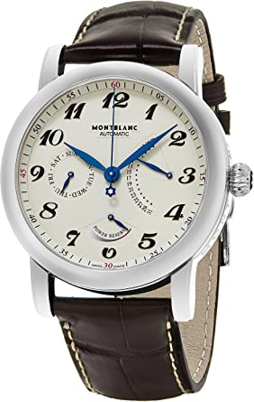 ad7ae407d35 Image Unavailable. Image not available for. Color: Montblanc Men's Star  Stainless Steel Swiss-Automatic Watch with Leather Strap ...