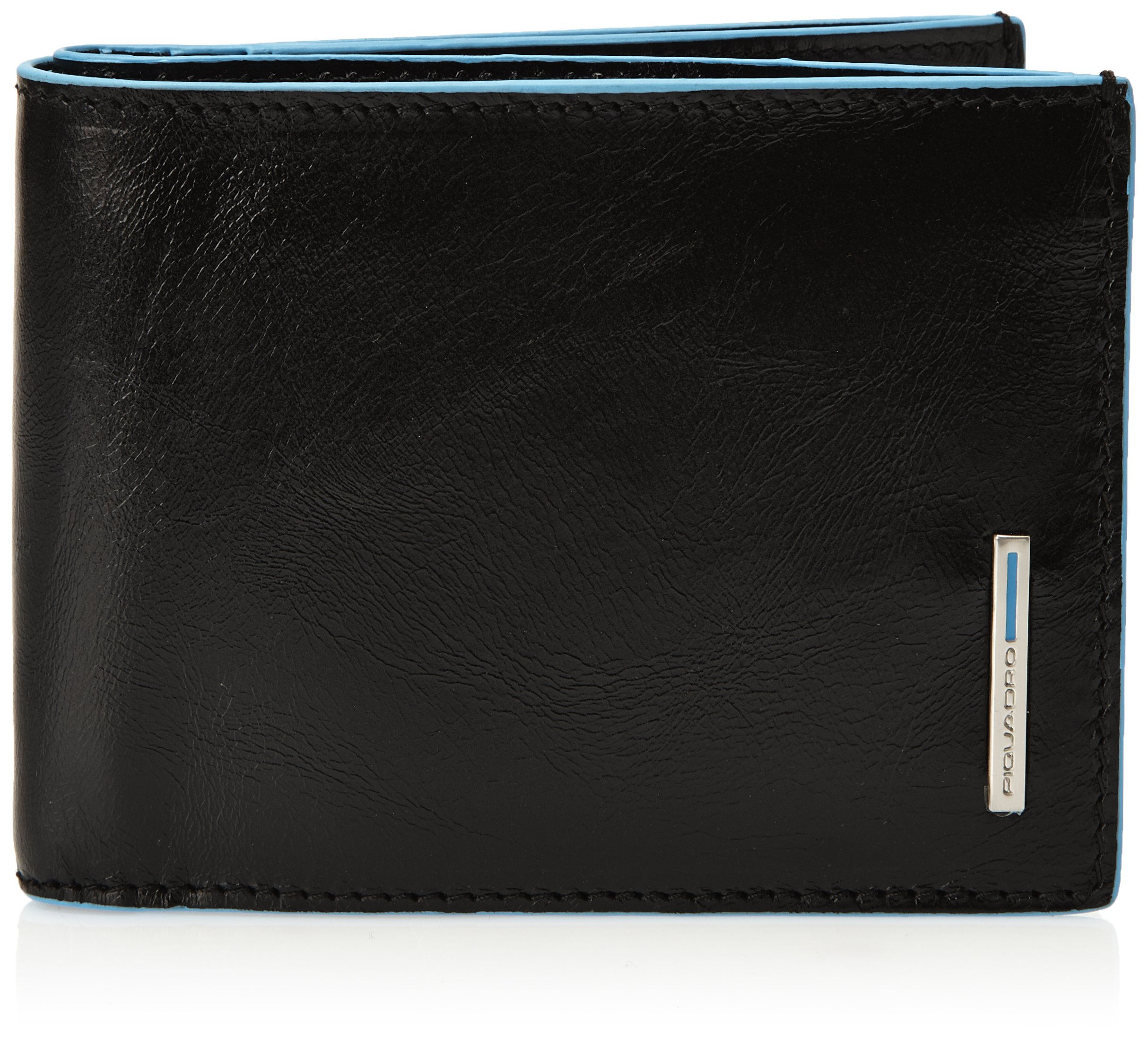 Piquadro Leather Man's Wallet with 12 Credit Card Slots, Black, One Size