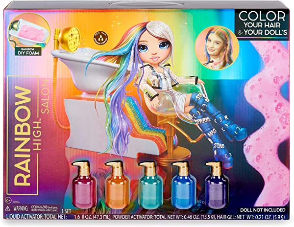 Rainbow Surprise Rainbow High Salon Doll Playset for kids in package