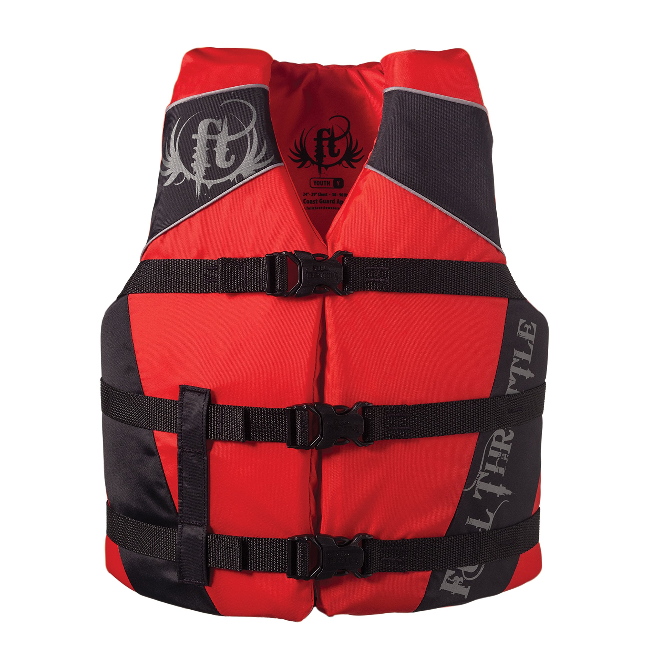 Full Throttle Youth Nylon Watersports Vest - Red/Black