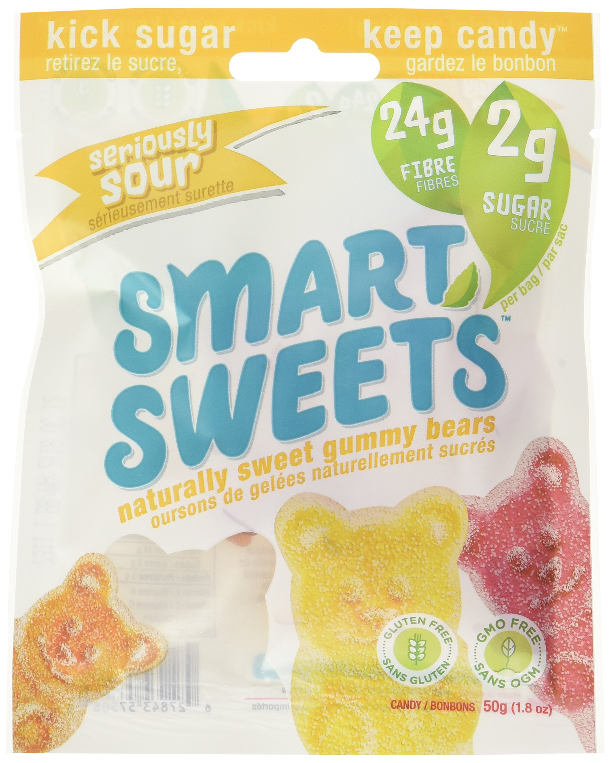 SmartSweets Low Sugar Gummy Bears Candy, Seriously Sour 1.8 oz bags (box of 12) Free of Sugar Alcohols and No Artificial Sweeteners, Sweetened with Stevia