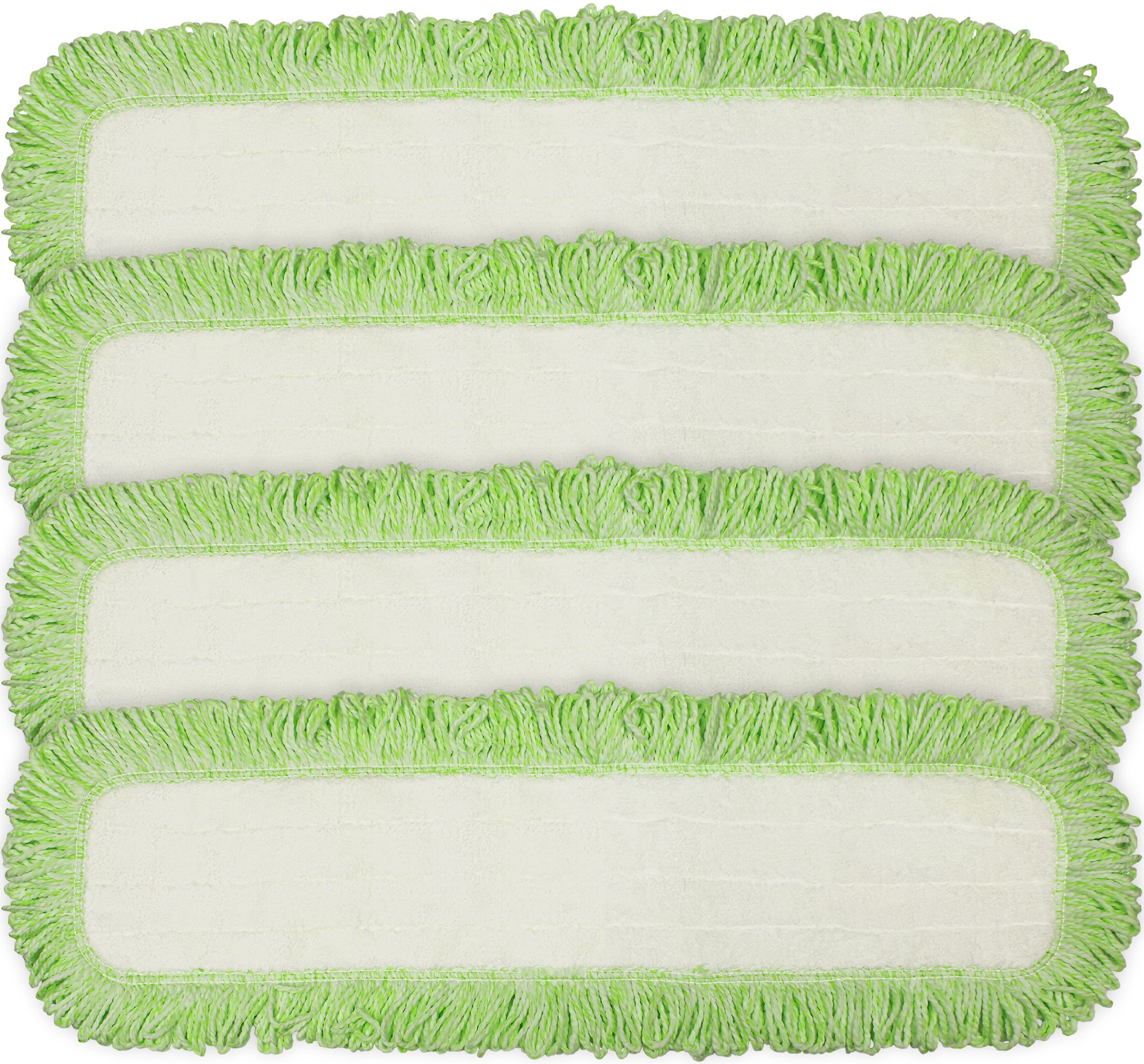 Eurow Commercial Microfiber Dry Mop Pad Refill 24 in Green 4 Pack by CleanAide
