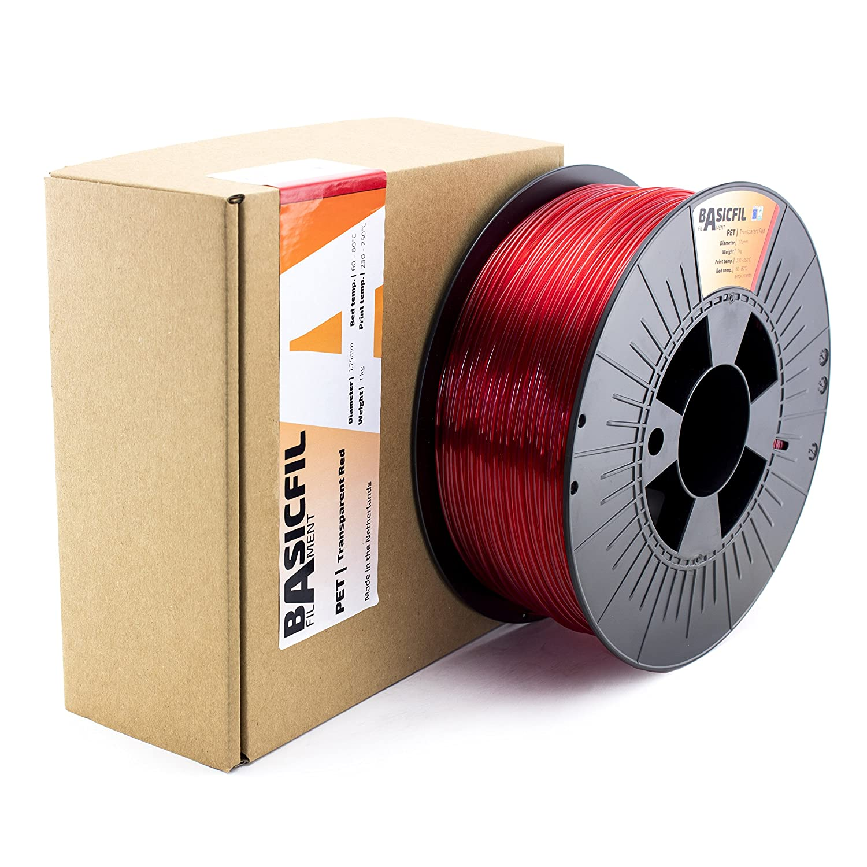 BASICFIL PET 1.75mm Azul transparente 1 kg filamento de impresi/ón 3D
