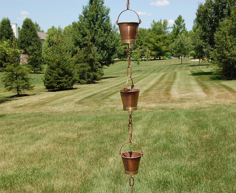Buckets on a Chain 120cm Rain Chain Garden Ornament Verdigris Effect