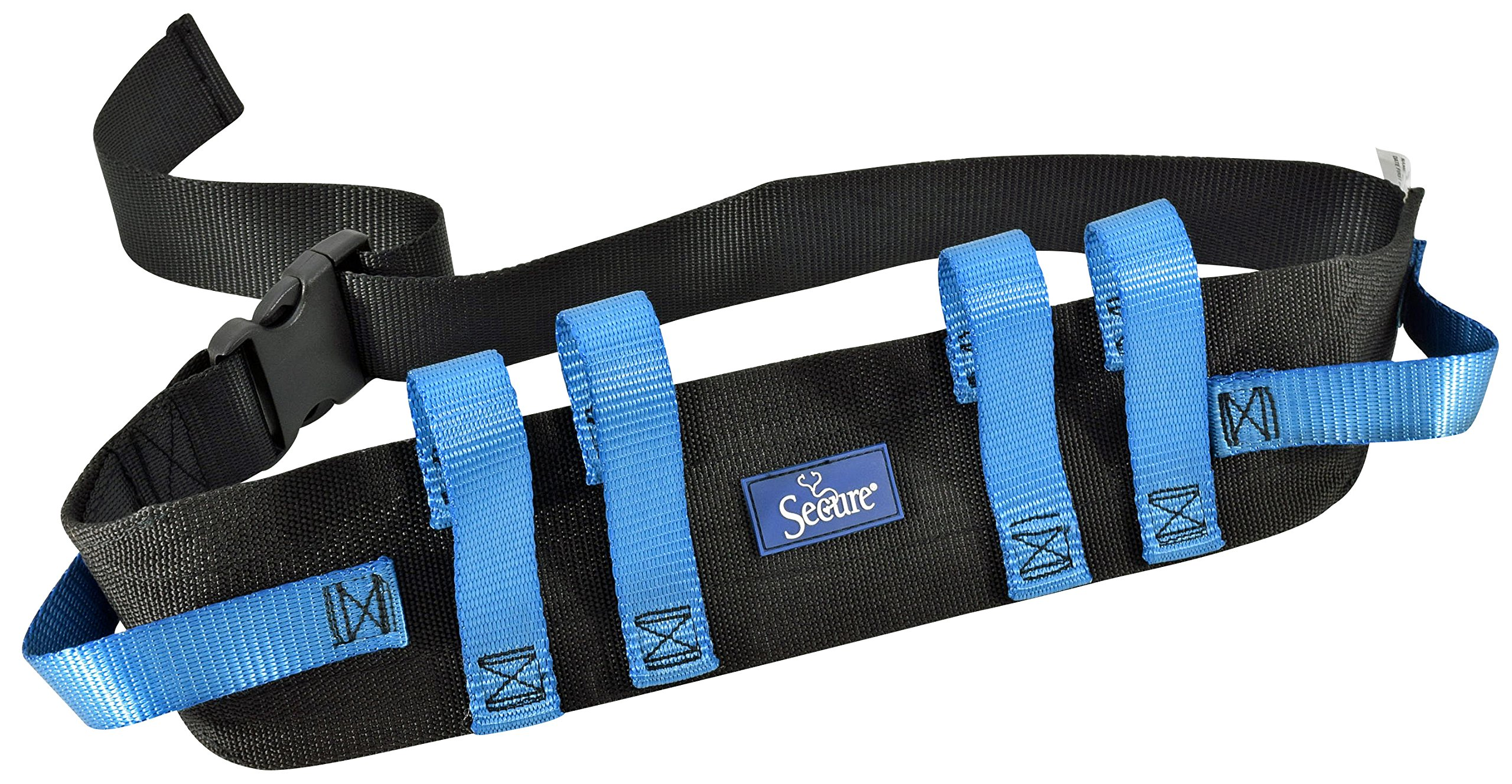 Secure Transfer and Walking Gait Belt with 6 Caregiver Hand Grips - Patient Ambulation Medical Assist Aid (52''Lx4''W, Blue Handle (Quick Release Buckle))