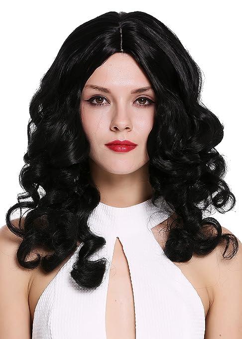 WIG ME UP ® - 6069-1B Peluca mujer calidad Cosplay dama noble largo tirabuzones
