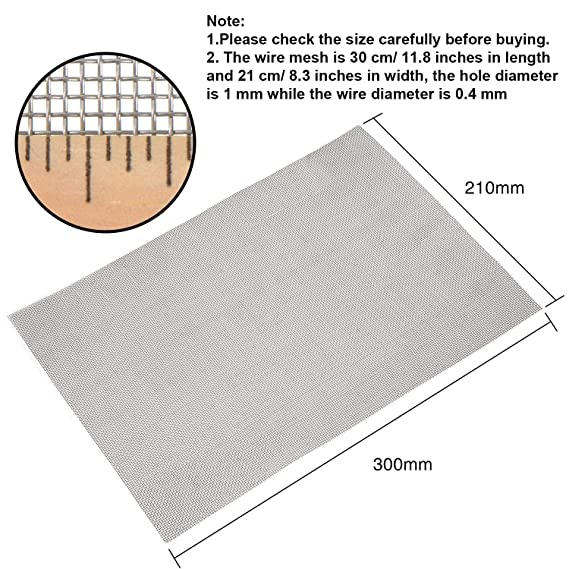 Wire Mesh Woven Meshes Stainless Steel Rodent Mesh with 1 mm Mesh, 300 x  210 mm, 2 Pieces