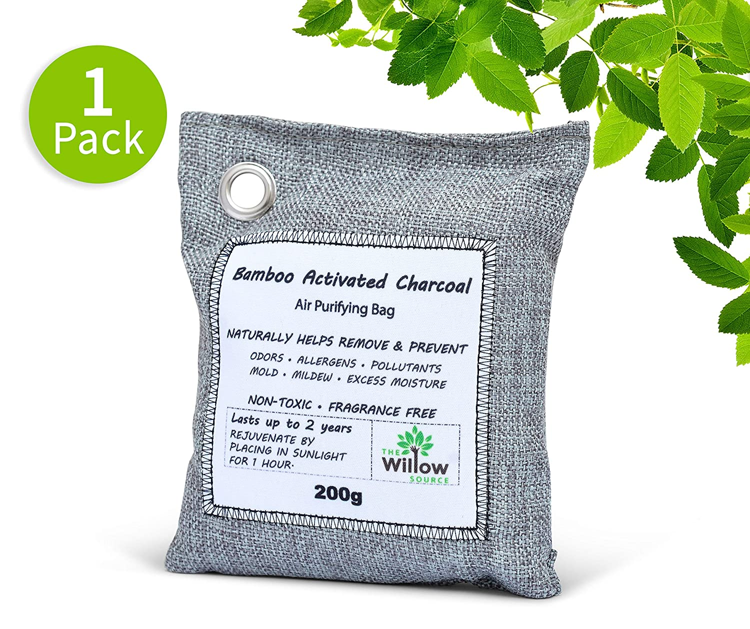 Willow Source Air Purifying Bags - All Natural - Bamboo Activated Charcoal Deodorizer - Unscented Air Freshener, Odor Eliminator, Car Air Freshener, Absorbs Moisture (4)
