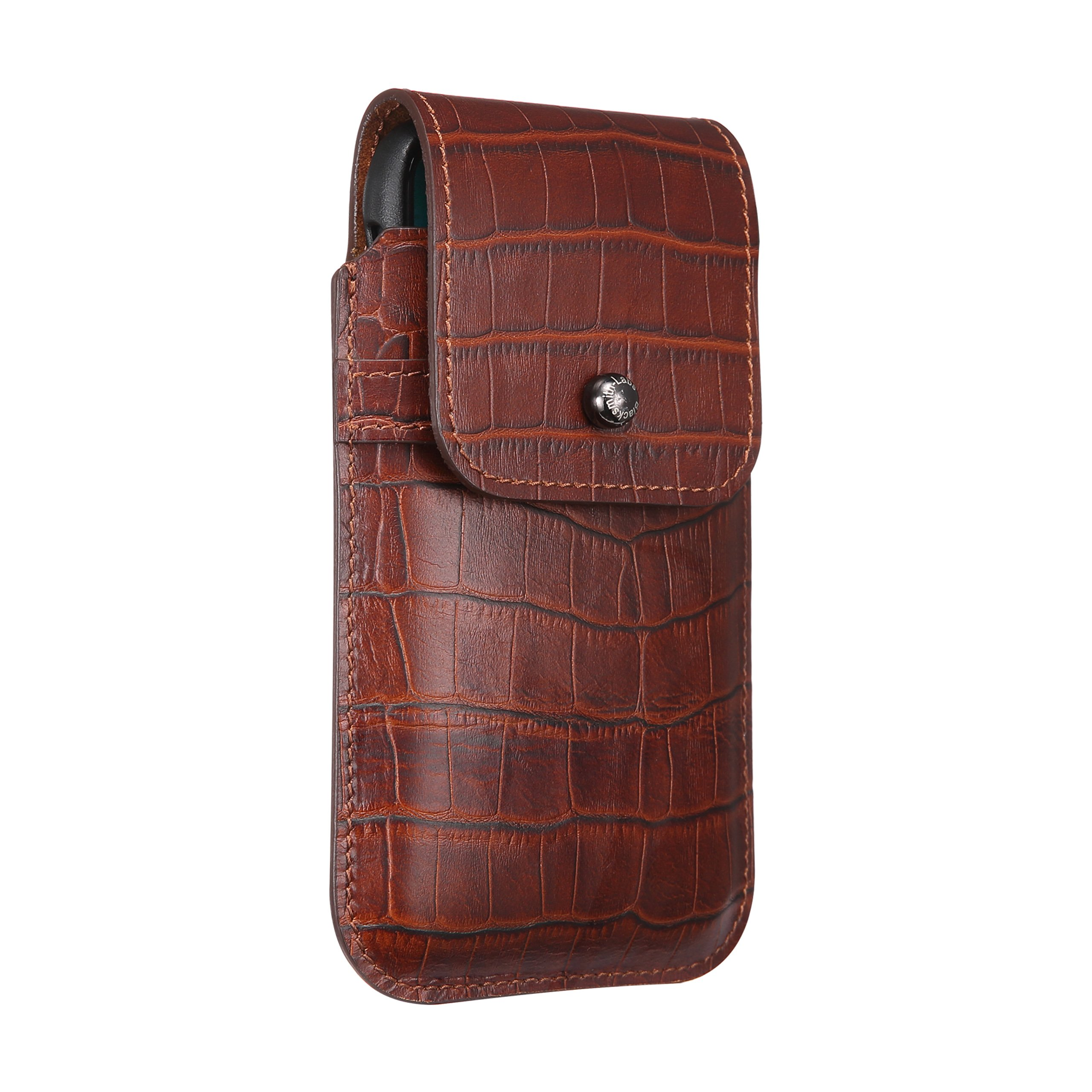Blacksmith-Labs Barrett Mezzano 2017 Premium Oversized Genuine Leather Swivel Belt Clip Holster for Apple iPhone X/Xs for use w Apple Leather Case Rustic Brown Croc Embossed Cowhide Gunmetal Belt Clip