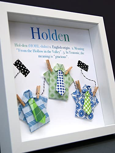 Personalized Name Origin and Meaning Baby Gift Paper Origami Shadowbox Frame