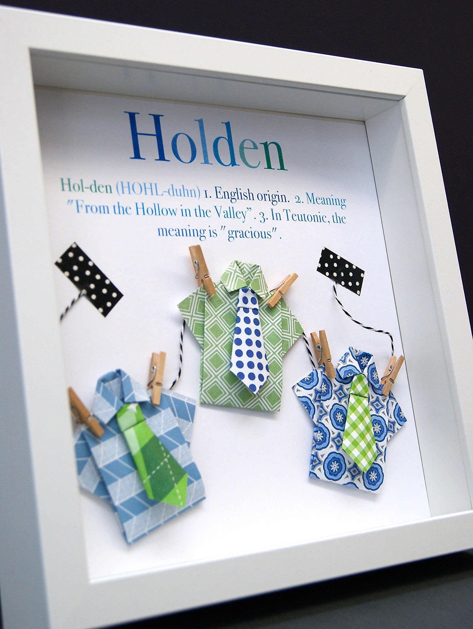Personalized Name Origin and Meaning Baby Gift Paper Origami Shadowbox Frame with Shirts and Ties Custom Newborn Baby Shower Boy Gift