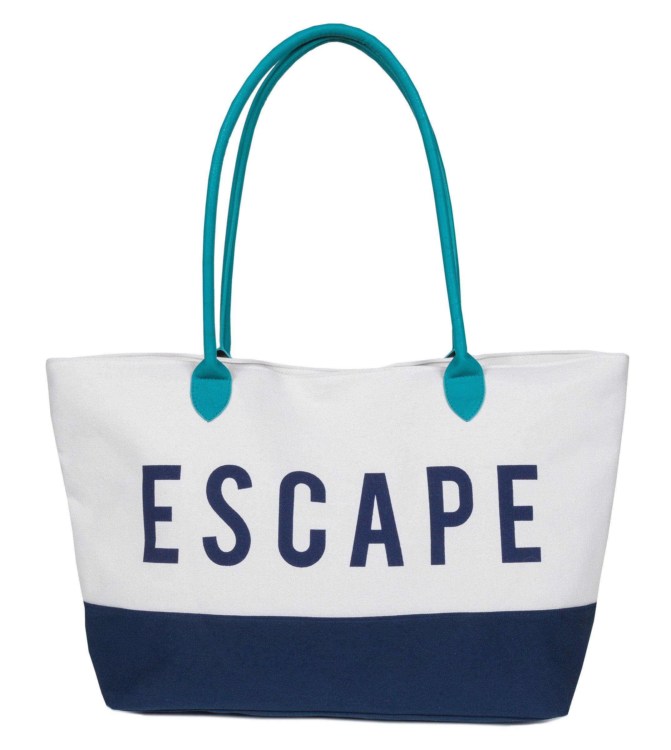XL Large Cotton Canvas Tote Bag for Weekend Escape, Beach, Travel, Zipper Closure