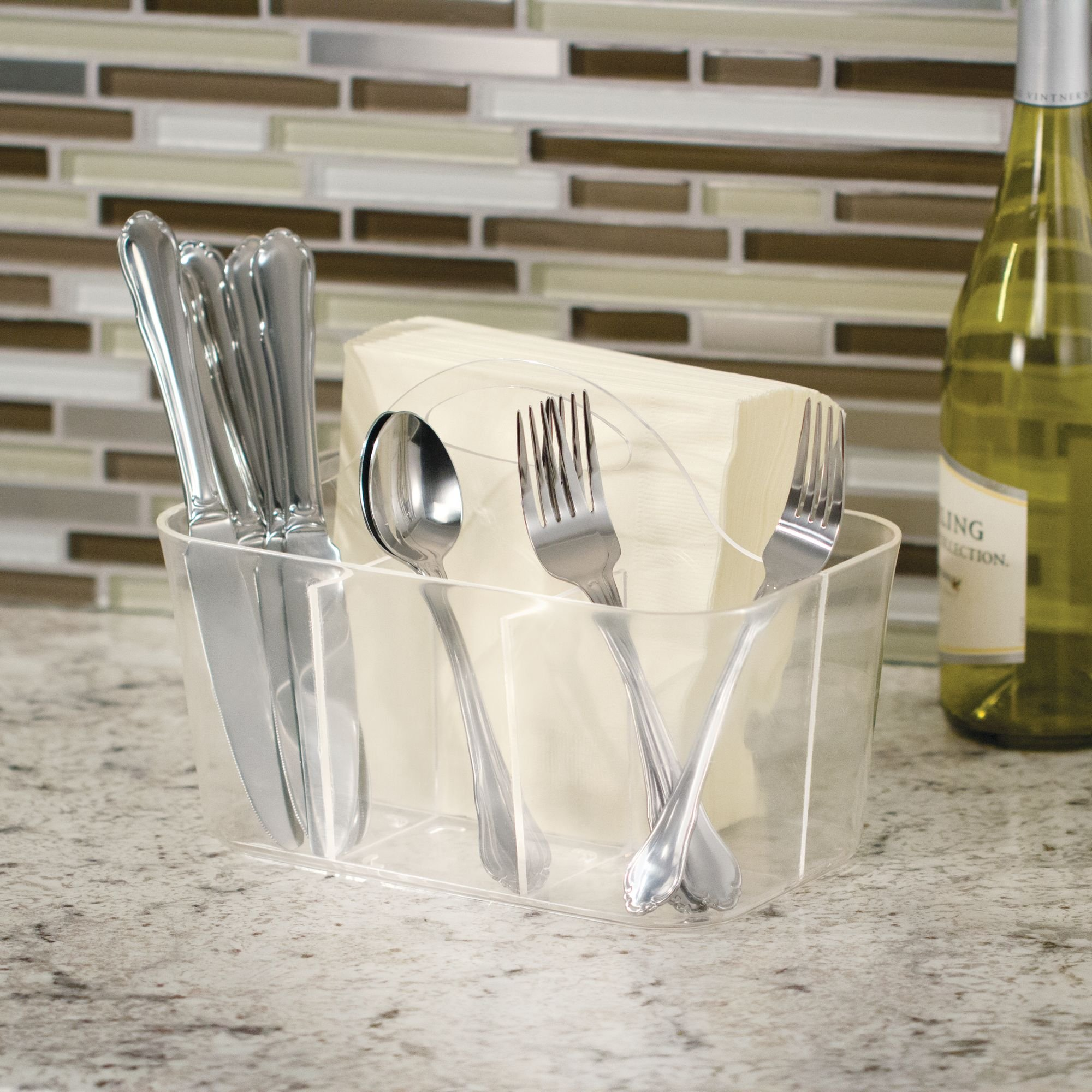 InterDesign Clarity Cutlery Flatware Caddy, Silverware, Utensil, and Napkin Holder - Clear by InterDesign (Image #4)