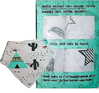 Muselina bebé 120 x 120, algodón orgánico 100%, certificado Gots, 2 mantas de muselina, Baby Swaddle manta, para cuna, cochecito, sábana, suave, unisex, más babero de regalo. Bianco Stella-piuma: Amazon.es: Hogar